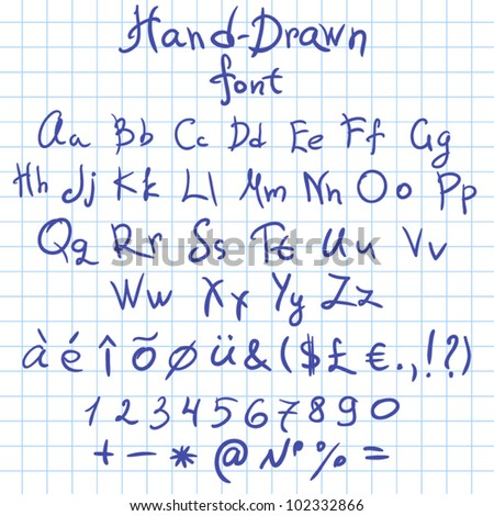 hand-drawn font with all symbols doodle font Vector letters set - stock vector