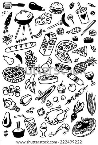 hand-drawn food doodle set - stock vector
