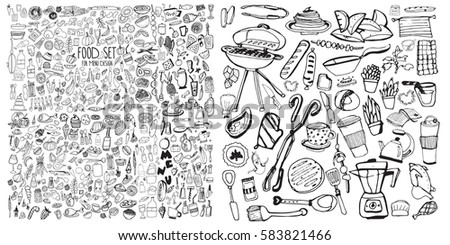 Hand drawn food elements. Set for menu decoration. Cartoon. Simple stylized forms. Black and white.