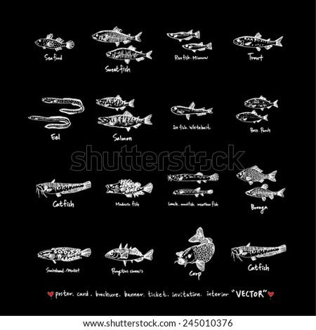 Hand drawn food ingredients / food menu illustrations / blackboard version  - stock vector