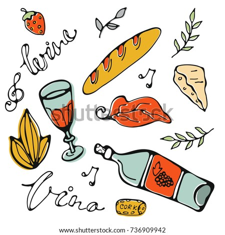 Hand drawn food set. Illustration of graphic elemnts in vector format. Vino is wine in Italian language