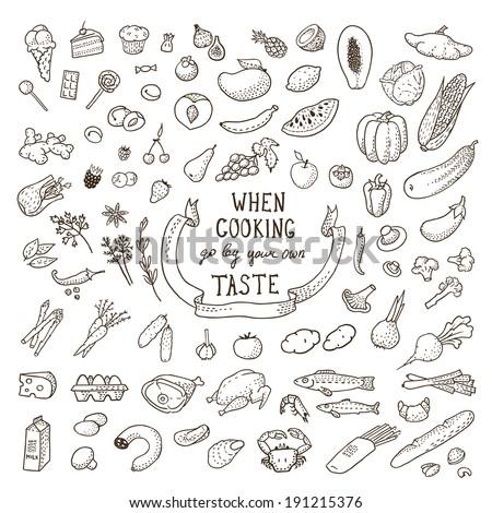 Hand Drawn Food Set. Vector illustration, eps10. - stock vector
