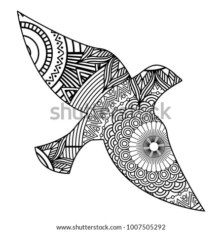 Hand Drawn Adult Coloring Pages Bird Stock Vector 2018 1007505292