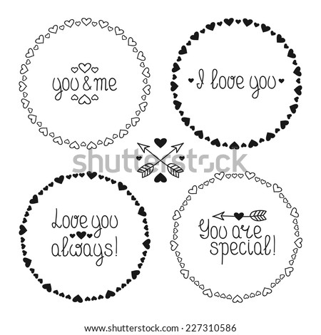 Hand drawn frame of pattern with hearts. Vector set of valentine's day vintage design elements. Beautiful simple illustration. - stock vector