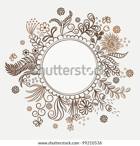 hand drawn frame with flowers - stock vector