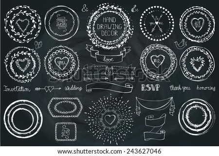 Hand drawn frame,wreath, line border,heart ,ribbon set.ribbon. Doodle decor on Chalkboard.For design template, invitations, holiday, Valentine day,baby design.Love Vector - stock vector