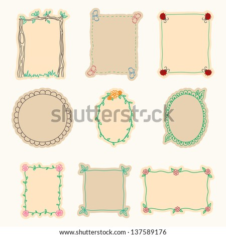 Hand Drawn Frames. Set 4. Vector Illustration