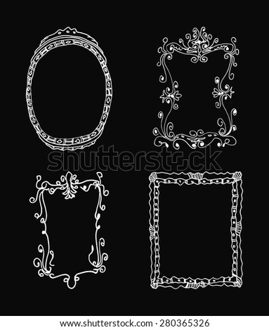 hand drawn frames vector illustration - stock vector