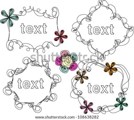 Hand drawn frames, vector illustration, flower frame border - stock vector