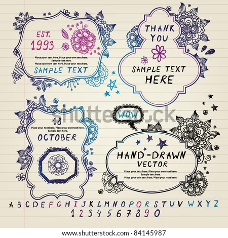 Hand-drawn frames  with a floral pattern - stock vector