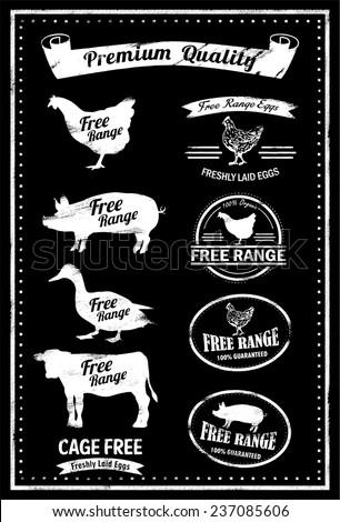Hand drawn free range icons, vector - stock vector