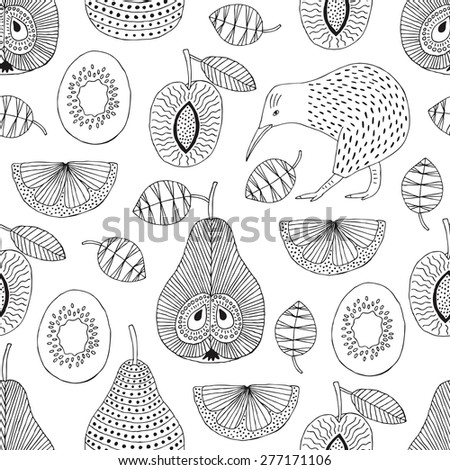 Hand drawn fruit and kiwi seamless pattern. Vector illustration. - stock vector
