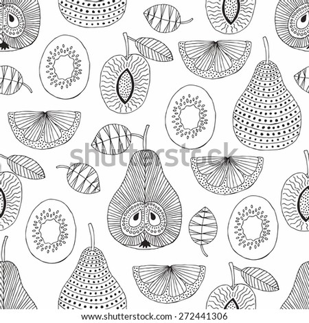 Hand drawn fruit seamless pattern. Vector illustration. - stock vector