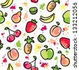 hand drawn fruits on white background, vector seamless pattern - stock photo