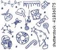 Hand-drawn fun doodle on the Christmas theme - stock vector