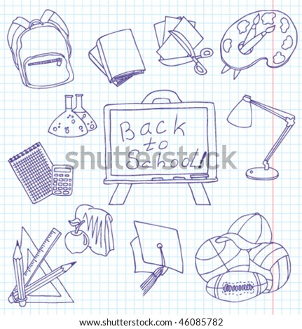 Hand-drawn fun doodles on the education theme - stock vector