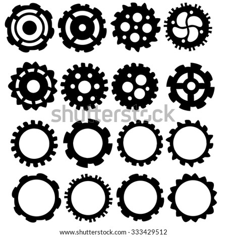 Hand drawn funky Gears and cogs vector icon collection.  - stock vector
