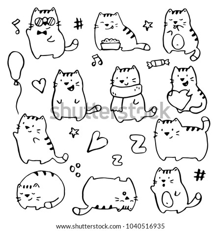 Hand Drawn Funny Cats Illustration Drawing By Ink Brush Pen Simple Doodle Sketch Style
