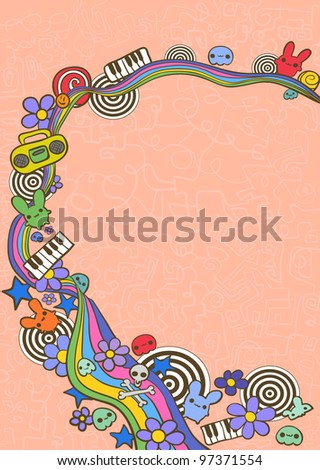Hand drawn funny frame - stock vector