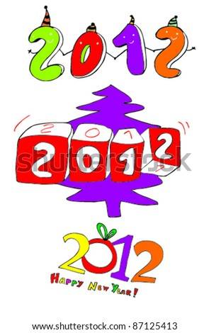 hand-drawn funny New Year's. - stock vector