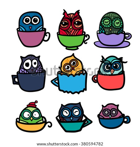Hand  Drawn Funny Owl with Cups of Coffee. Owls set for print, fabric, wrap and illustration. Vector