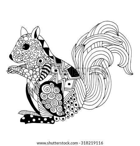 Hand drawn funny squirrel - illustration in zentangle style. Vector monochrome sketch - stock vector