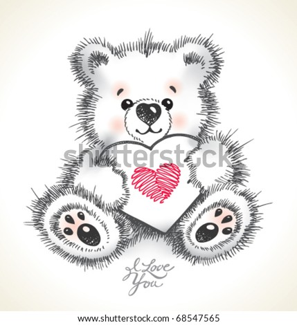 how to draw a cute teddy bear with a heart
