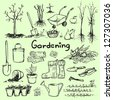 Hand drawn garden tools, Spring gardening, sketch - stock vector