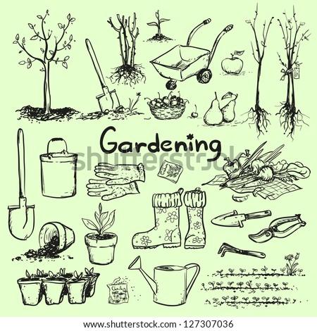 Hand drawn garden tools, Spring gardening, sketch - stock vector