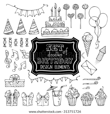 Hand-drawn garlands and balloons, music notes, gift boxes, party blowouts, cakes and candies, birthday pie, party hats and other doodles design elements isolated on white background. - stock vector