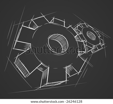 Hand-drawn gears. Vector illustration. - stock vector