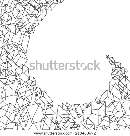 hand drawn geometric background with cubes - stock vector