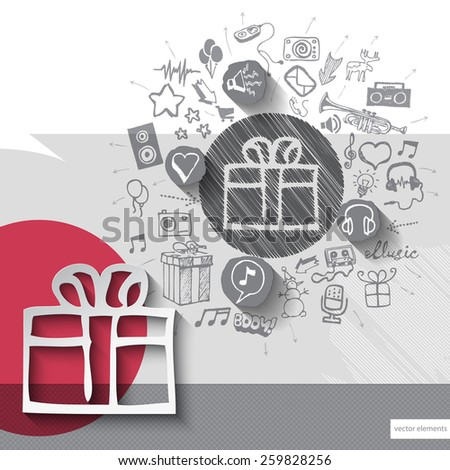 Hand drawn gift box icons with icons background. Vector illustration
