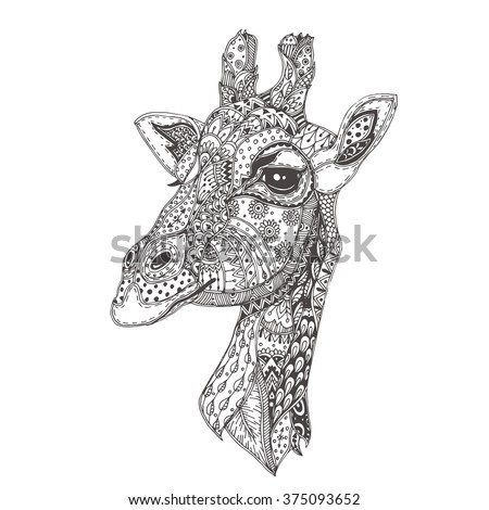 Hand-drawn giraffe with ethnic floral doodle pattern. Coloring page - zendala, design for spiritual relaxation for adults, vector illustration, isolated on a white background. Zen doodles. - stock vector