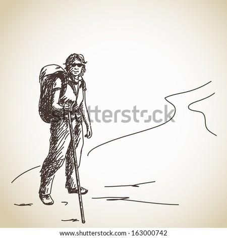 Hand drawn girl trekking Vector - stock vector