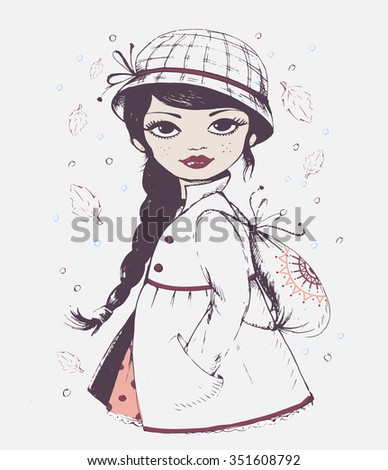 Hand drawn girl/ vector girl/brunette girl/ long hair girl.Can be used for girls fashion shirt/T-shirt Graphics Designs/romantic girl/pretty girl/illustration vector girl/girl graphic/poster girl.  - stock vector
