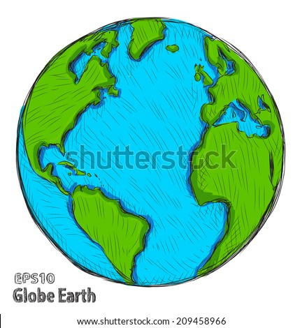 Hand drawn Globe Earth. Vector illustration - stock vector