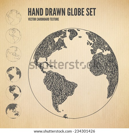 Hand drawn Globe icon set. Planet earth in different views of the continents illustrations in cardboard texture background. Outline and scribbles in different layers. Vector design elements. - stock vector