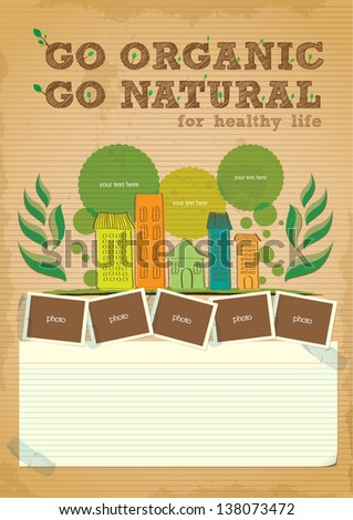 hand drawn go green campaign promotion poster design - stock vector