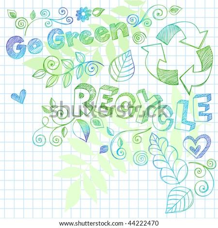 Hand-Drawn Go Green Nature Leaves and Swirls Sketchy Doodles on Graph (Grid) Notebook Paper Vector Illustration with Recycle Lettering - stock vector
