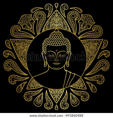 Hand Drawn Gold Buddha Head Lotus Stock Photo Photo Vector