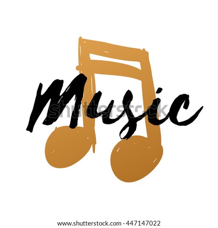 Hand-drawn gold music note on white background for design, doodle vector illustration, music text
