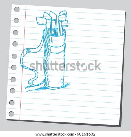 Hand drawn golf bag - stock vector