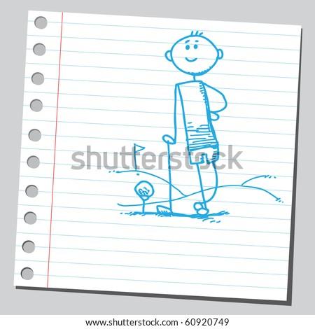 Hand drawn golfer standing - stock vector