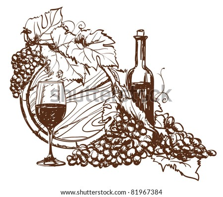 Hand drawn grape and bottle of wine. Vector - stock vector