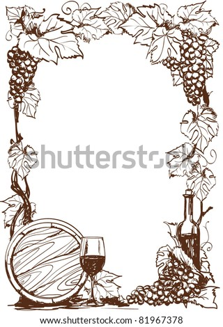 Hand drawn grape and bottle of wine. Vector decorative page template - stock vector
