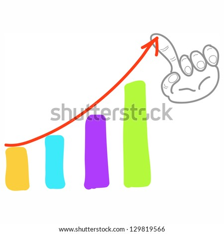 hand-drawn graph bar chart business growth illustration - stock vector