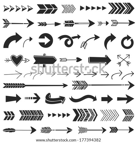 Hand Drawn Graphic Arrows - stock vector