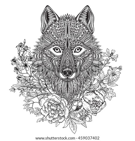 Stock Images Similar To Id 101240563 Tribal Wolf Tattoo