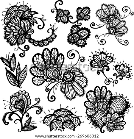 Hand Drawn graphic vintage black line lace flower, peony, inflorescence, decoration items on white background. Set of isolated floral laces wedding invitation decorative elements. Chess grid order - stock vector